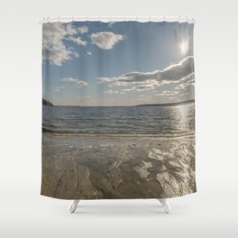 Cold Beach Day Shower Curtain