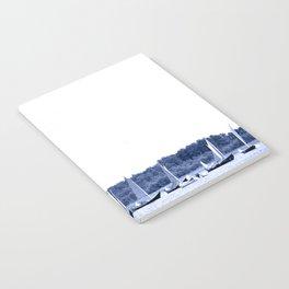 Dutch sailing boats in Delft Blue colors Notebook