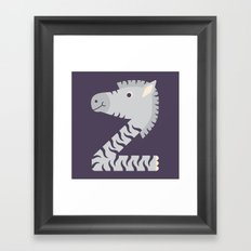 Letter Z // Animal Alphabet // Zebra Framed Art Print