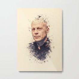 Bruce Willis splatter painting Metal Print