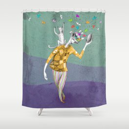 the imaginative robot clown and his cat friend Shower Curtain