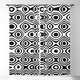 Asymmetry collection: abstract black and white circles Blackout Curtain
