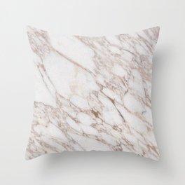 White Marble Carrara Calacatta Throw Pillow