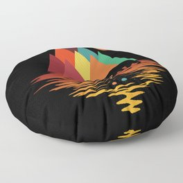 Geometric Space Mountains Floor Pillow