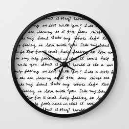 Can't Help Falling in Love Script Wall Clock
