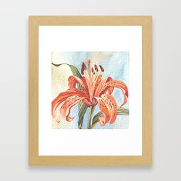 Orange Tiger Lily Watercolor Painting Framed Art Print