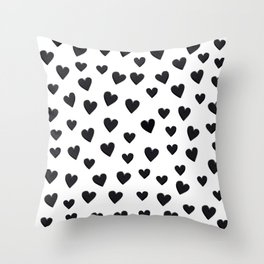Hearts Love Black and White Pattern Throw Pillow