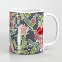 Midsummer Night Floral Prints, Charcoal, Green, Red, Pink Coffee Mug