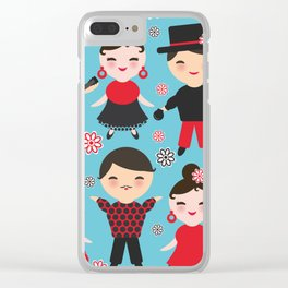 Seamless pattern spanish flamenco dancer. Kawaii cute face with pink cheeks and winking eyes. Clear iPhone Case