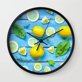 Fruits and leaves pattern (24) Wall Clock