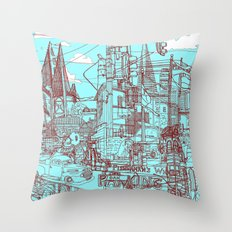 San Francisco! (Turquoise) Throw Pillow