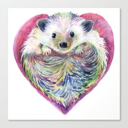HedgeHog Heart by Michelle Scott of dotsofpaint studios Canvas Print