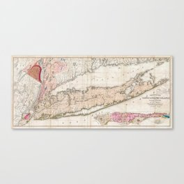 Long and Staten Island Map Canvas Print