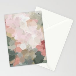 Forest Green Fuchsia Blush Pink Abstract Flower Spring Painting Art Stationery Cards
