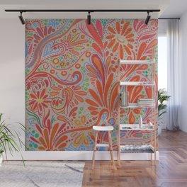 Orange ~Ornate Flowers Wall Mural