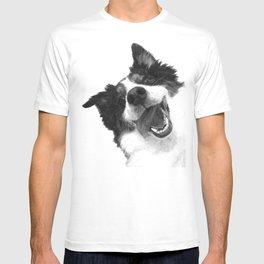Black and White Happy Dog T-shirt