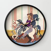 barbie Wall Clocks featuring Barbie by Jane Lim illustration