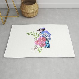 Blue Jay on a floral branch watercolor bird painting Rug