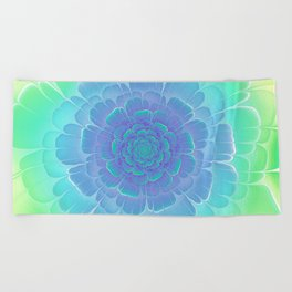 Romantic blue and green flower, digital abstracts Beach Towel