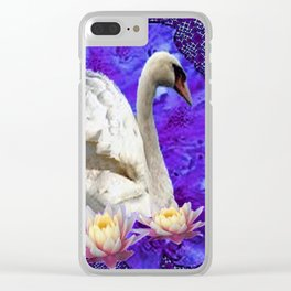 WHITE SWAN WATER LILIES ULTRA-VIOLET ART Clear iPhone Case
