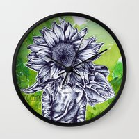 the perks of being a wallflower Wall Clocks featuring The Wallflower by Jade Cohen