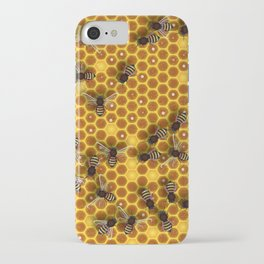 Close up view of the working bees on the honeycomb with sweet honey. Honey is beekeeping healthy produce. iPhone Case
