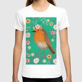Robin Bird with flowers T-shirt