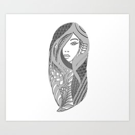 zentangle portrait 3 Art Print