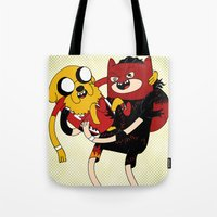 wrestling Tote Bags featuring It's Wrestling Time!  by Rad Recorder