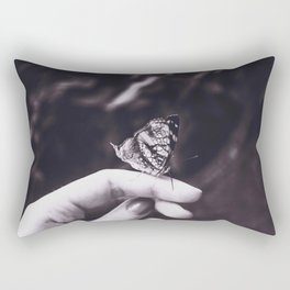 Butterfly - Black and White Rectangular Pillow