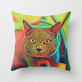 AnimalColor_Cat_ 018_by_JAMColors Throw Pillow