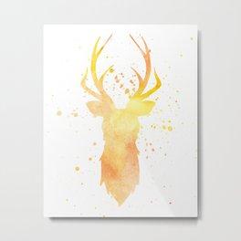 Watercolor deer head with antlers, Yellow Metal Print