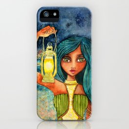 Watercolor Girl with Lantern iPhone Case