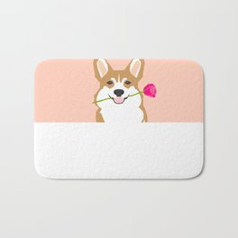 Valentines - Corgi with Rose - Love, Cute Corgi for Corgi Owners, Trendy Girls Love, Valentines Day Bath Mat