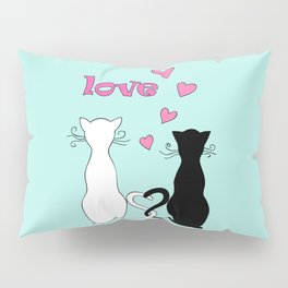 Couple cats with love Pillow Sham