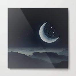 Moon & Stars Metal Print
