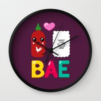 sriracha Wall Clocks featuring BAE by Ronnieboyjr
