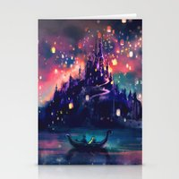 hot air balloon Stationery Cards featuring The Lights by Alice X. Zhang