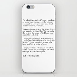 for what it's worth - fitzgerald quote iPhone Skin