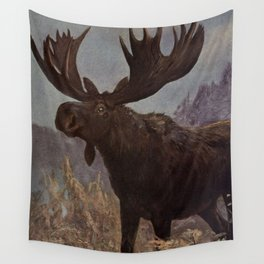 Vintage Moose Painting (1909) Wall Tapestry