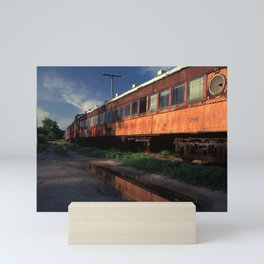 Rusted rail passenger cars, French Lick, Indiana Mini Art Print