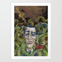 lovecraft Art Prints featuring H.P. Lovecraft by Pajamarai Illustrations