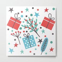Christmas Mistletoe and Gift Pattern Metal Print