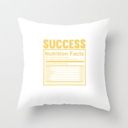 Success Particulars Nutrition Facts Quote Tee Shirt Gifts | Cute Winning Guides Uplifting Men Women Throw Pillow