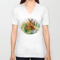 polygon V-neck T-shirts featuring Polygon Deer by Joseph Von Stengel