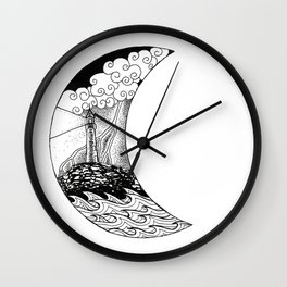 Stormy Lighthouse Under the Moon Wall Clock