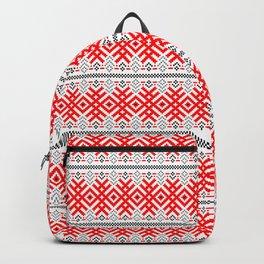 Unity - Force Protection Abundance - Ethno Ukrainian Traditional Pattern - Slavic Ornament Red Black Backpack