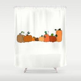 Pumpkins in a Row Shower Curtain