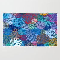 coral Area & Throw Rugs featuring Coral by Helene Michau