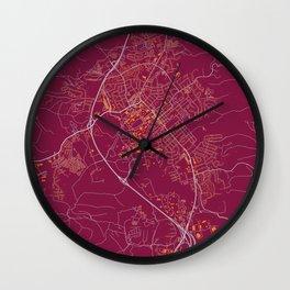 BLACKSBURG VIRGINIA COLLEGIATE MAP HANDRAWN Wall Clock